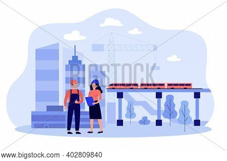 Professional Engineers Discussing Project Isolated Flat Vector Illustration. Cartoon Builders Buildi