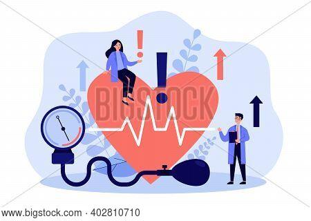 Tiny Doctors Examining Heart Health Flat Vector Illustration. Cartoon Medical Specialists Doing Chec