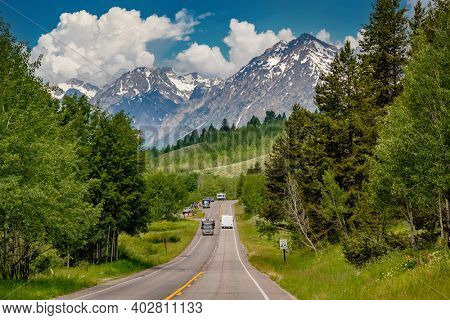 Highway in Grand Teton National Park, Wyoming, USA