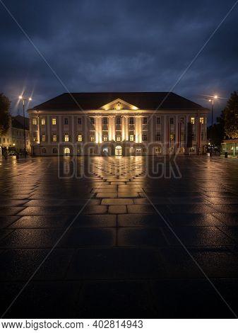 Night Panorama Of Illuminated Historic City Town Hall Of Klagenfurt Am Worthersee Neuer Platz Carint