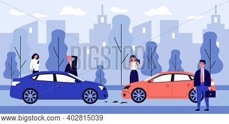 Upset Drivers Standing Near Crashed Cars. Road Accident, Traffic Crash, Collision. Flat Vector Illus