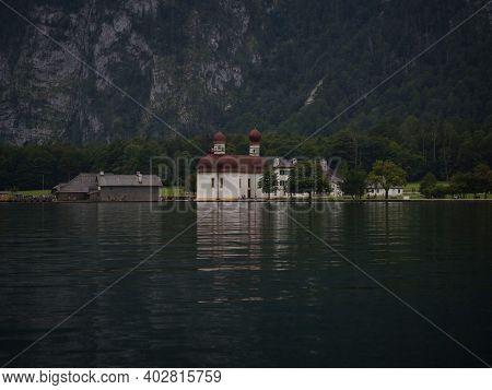 Panorama Of St Bartholomew Bartholoma Pilgrimage Church On Lake Konigssee Koenigssee Berchtesgaden B