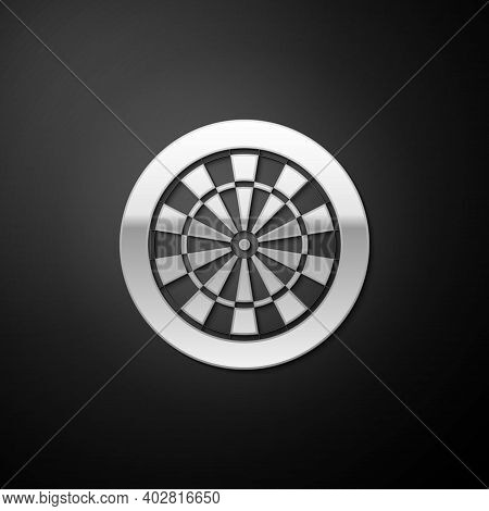 Silver Classic Darts Board With Twenty Black And White Sectors Icon Isolated On Black Background. Da