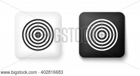 Black And White Target Sport For Shooting Competition Icon Isolated On White Background. Clean Targe