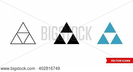 Three Triangles Icon Of 3 Types Color, Black And White, Outline. Isolated Vector Sign Symbol.