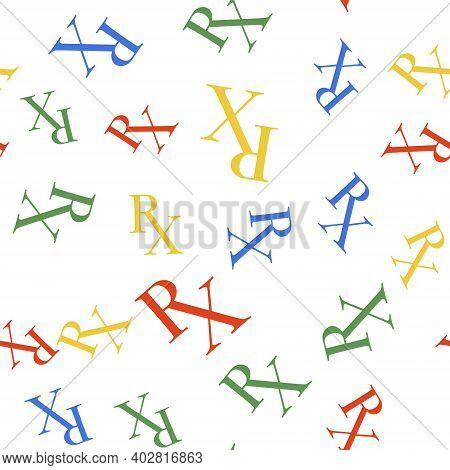 Color Medicine Symbol Rx Prescription Icon Isolated Seamless Pattern On White Background. Vector