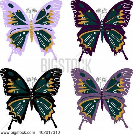 Set Of Fluttering Multicolored Butterflies On A White Background. Vector Flat Illustration. Four Bri