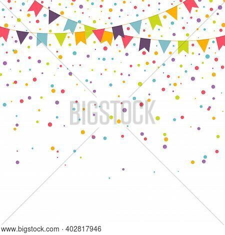 Party Background With Colorful Garlands And Confetti, Vector Illustration