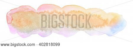 Multicolor Oblong Elongated Watercolor Stain, A Unique Background For Websites, Posters, Postcards.
