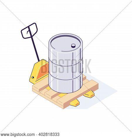 Isometric Truck Pallet With Barrels. 3d Pallets Cargo Goods Fuel Benzin Petrol Gas And Combustible V