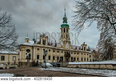 View Of Loreto Sanctuary In Winter,prague,czech Republic.marian Pilgrimage Site With The Baroque Chu