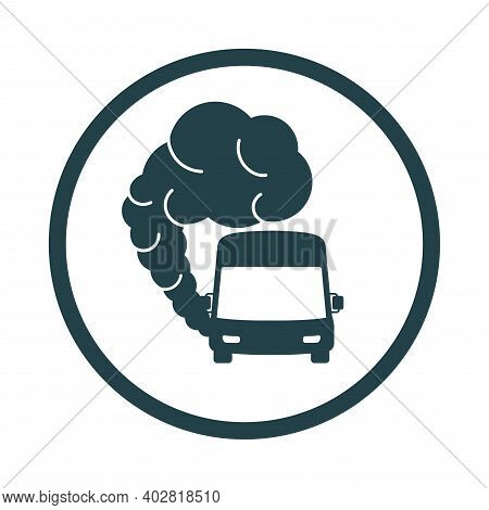 Bus Icon With Exhaust Gases. Traffic Fumes. Environmental Pollution. Smog.