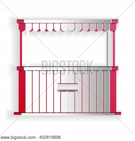 Paper Cut Street Stall With Awning And Wooden Rack Icon Isolated On White Background. Kiosk With Woo