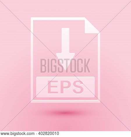 Paper Cut Eps File Document Icon. Download Eps Button Icon Isolated On Pink Background. Paper Art St