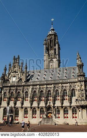 Middelburg, The Netherlands, August 2019. The Town Hall In A Beautiful View From The Market Square.