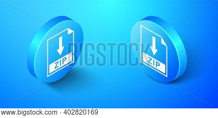 Isometric Zip File Document Icon. Download Zip Button Icon Isolated On Blue Background. Blue Circle