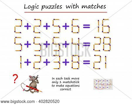 Logical Puzzle Game With Matches. In Each Task Move Only 1 Matchstick To Make Equations Correct. Mat