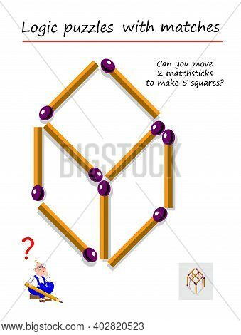 Logic Puzzle Game With Matches For Children And Adults. Can You Move 2 Matchsticks To Make 5 Squares