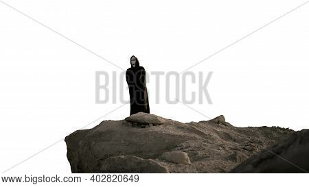 Death Itself Stands On A High Mountain,a Man In A Black Frightening Suit,a Horror Face,halloween Cha