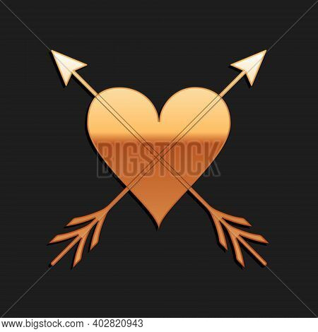 Gold Heart With Arrow Icon Isolated On Black Background. Happy Valentines Day. Cupid Dart Pierced To