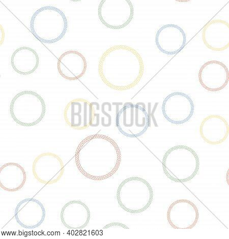 Color Rope Frame Icon Isolated Seamless Pattern On White Background. Frames From Nautical Rope. Roun