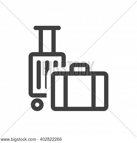 Icon Suitcases For Travel. Simple Linear Vector Hand Luggage. The Location Of The Suitcase With Whee