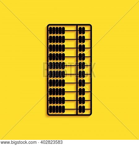 Black Abacus Icon Isolated On Yellow Background. Traditional Counting Frame. Education Sign. Mathema