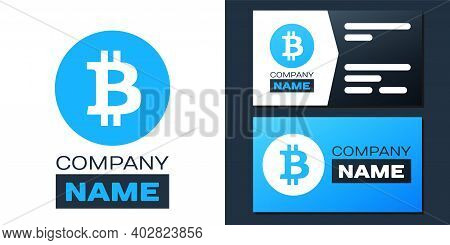 Logotype Cryptocurrency Coin Bitcoin Icon Isolated On White Background. Physical Bit Coin. Digital C