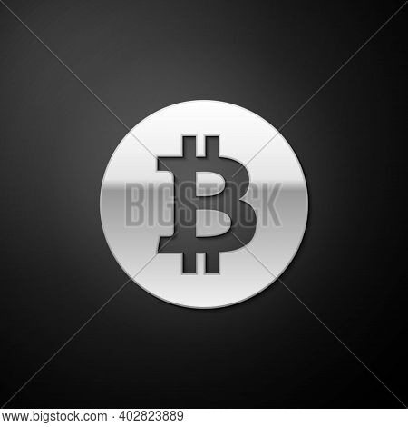 Silver Cryptocurrency Coin Bitcoin Icon Isolated On Black Background. Physical Bit Coin. Digital Cur