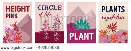 Colorful Background Design For Vegetation Forest. Stylized Pink Marihuana Bushes And Plants. Hemp Pl