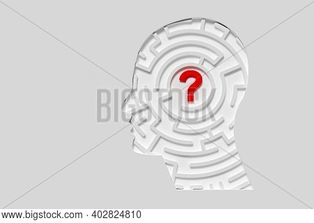 Human Head Shaped Maze Or Labyrinth With Question Mark In The Center Over White Background, Confusio
