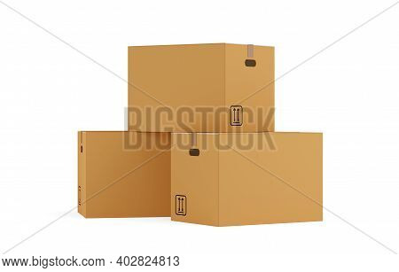 Three Closed, Brown Cardboard Moving Storage Boxes Over White Background, Moving Day Concept, 3d Ill