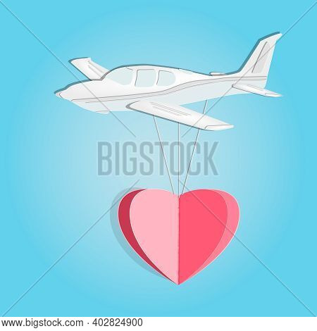 Paper Airplane With Heart Isolated On Blue Background. Happy Love And Valentine Day. Origami Made Wh