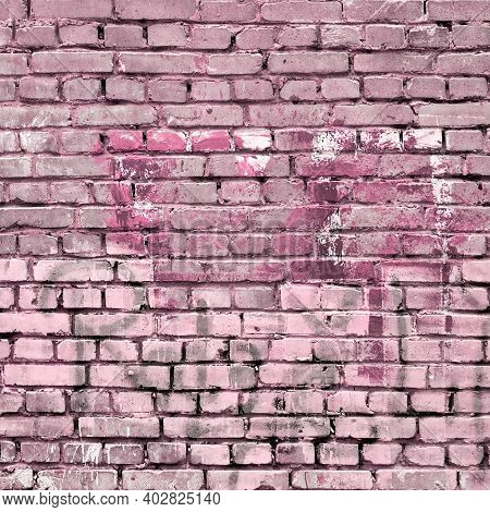 Distressed Pink Painted Brick Wall Background Isolated. Urban City Texture Material. Graffiti Painti