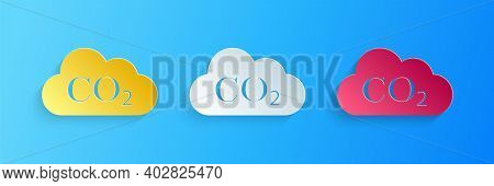 Paper Cut Co2 Emissions In Cloud Icon Isolated On Blue Background. Carbon Dioxide Formula Symbol, Sm