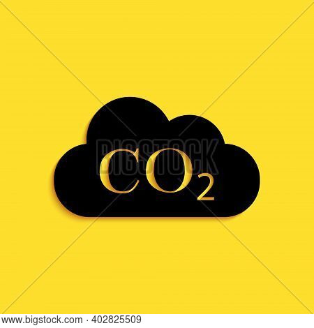 Black Co2 Emissions In Cloud Icon Isolated On Yellow Background. Carbon Dioxide Formula Symbol, Smog