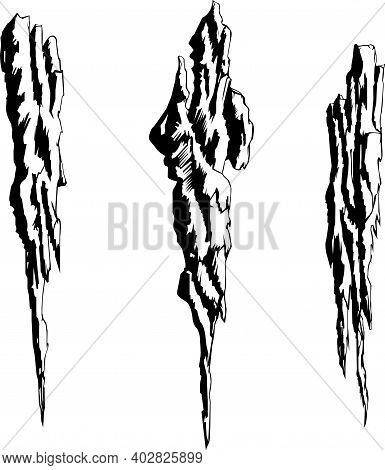 Vector Image Of Bizarre Rocks Set Of Black And White Images Of Elongated Fragments Of Rocks