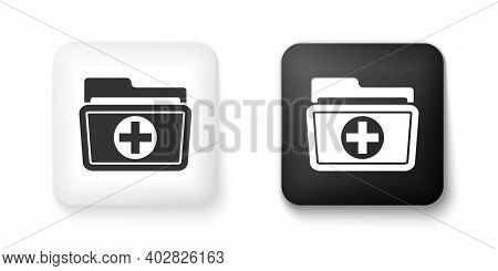 Black And White Medical Health Record Folder For Healthcare Icon Isolated On White Background. Patie