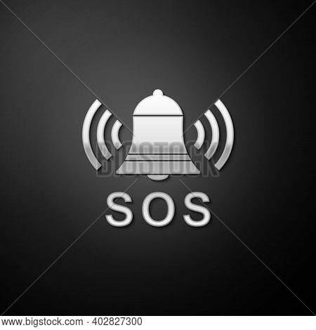Silver Alarm Bell And Sos Lettering Icon Isolated On Black Background. Warning Bell, Help Sign. Emer