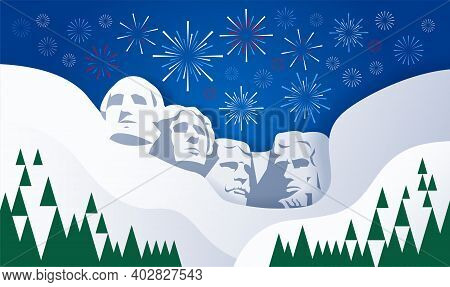 Presidents Day Rushmore Usa Background With Fireworks - Greeting Card Illustration
