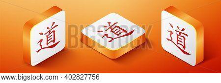 Isometric Chinese Calligraphy, Translation Dao, Tao, Taoism Icon Isolated On Orange Background. Oran