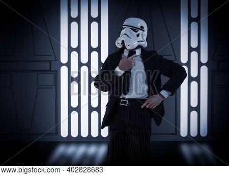 JAN 10 2021: Dapper Star Wars Stormtrooper in a suit and tie - custom action figure