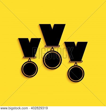 Black Medal Set Icon Isolated On Yellow Background. Winner Simbol. Long Shadow Style. Vector