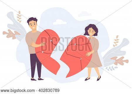 The Couple Is Holding Broken Halves Of The Heart. Man And Woman Reunite, Gluing Together Into A Sing