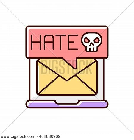 E-mail Cyberbullying Rgb Color Icon. Hate Messages. Offensive Mail. Online Harassment. Internet Bull