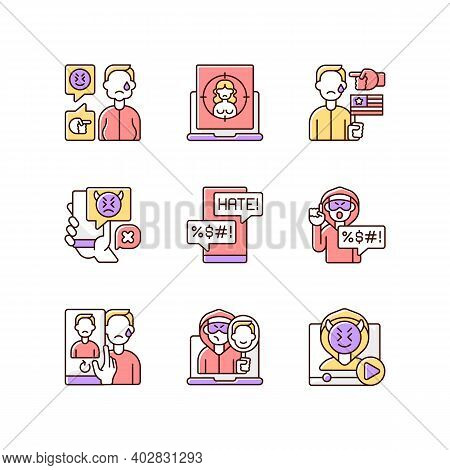 Online Harassment And Bullying Rgb Color Icons Set. Weight-base Cyberbullying And Bodyshaming. Inter