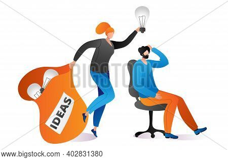 Woman Character Muse Hold Bag Light Bulb And Lamp Above Man Head, Creative Business Ideas Cartoon Ve