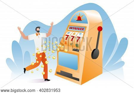 Gambler Male Character Happy Victory Slot Machine, Lucky Day For Winner Player Cartoon Vector Illust