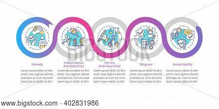 Media Ethics Vector Infographic Template. Honesty, Independence, Diligence Presentation Design Eleme