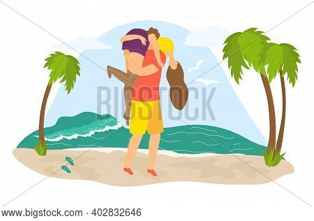 Tropical Travel Weekend Vacation, Lovely Couple Male Character Hold On Shoulder Female Flat Vector I